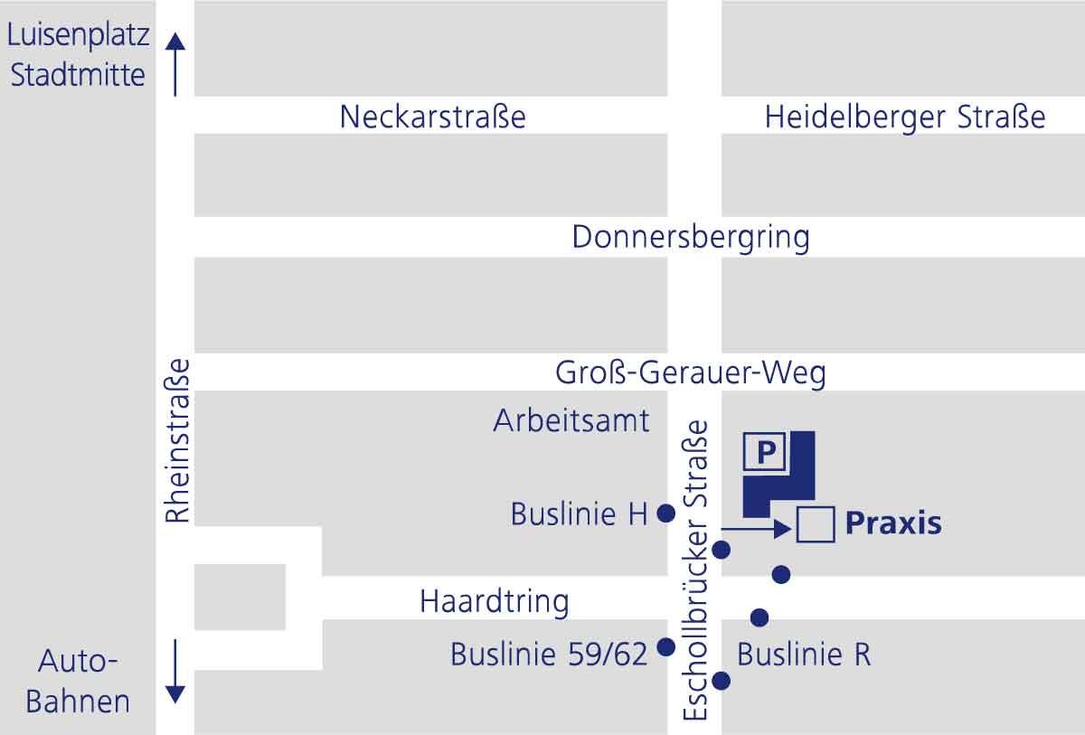 Anfahrtsplan Orthopädische Gemeinschaftspraxis Darmstadt